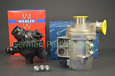 BMW Pierburg Electric Water Pump + Wahler Thermostat + Sensor + 3 Bolt kit