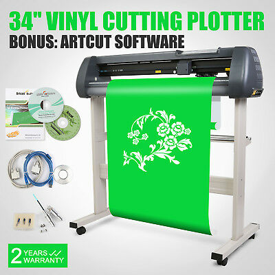 "34"" Vinyl Cutting Plotter Sticker Machine With Stand Cut Cutter  Artcut Software"