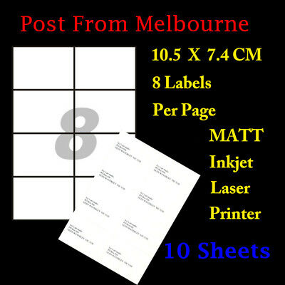 10 X A4 Matte White 8/Page 2x4 Self Adhesive Labels Mailing Address Stickers
