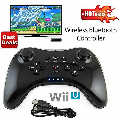 Bluetooth Wireless Controller Remote Black for Nintendo WII U PRO USB Cable UK