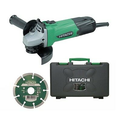 Hitachi G12SS/CD 110v Disc Angle Grinder with Diamond Blade 115mm and Case G12SS