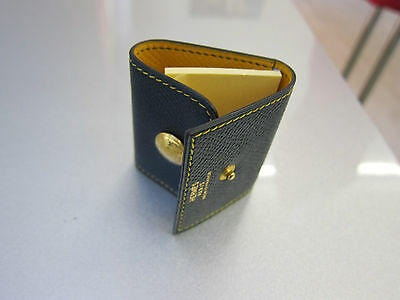 Hermès Leder Etui für Post-it dunkelblau gelb sheath for post-it blue yellow