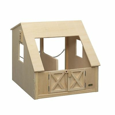 Wood Stall Stable Breyer Toy Two Horses Barn Doors Chain Feed Bins Kids Play New