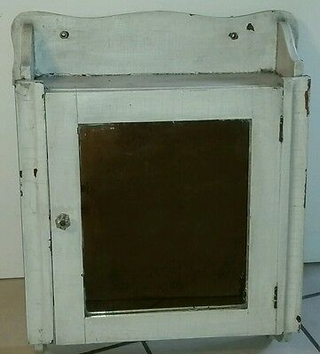 Vintage White Color Mirrored Medicine Hanging Wall Cabinet Shabby Chic Design