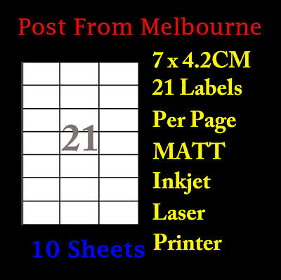 10X A4 Matte White 21/Page 3x7 Self Adhesive Labels Mailing Address Stickers