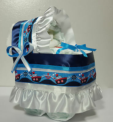 Diaper Cake Bassinet Carriage Baby Shower Gift for Boys - Navy Blue Boats Theme