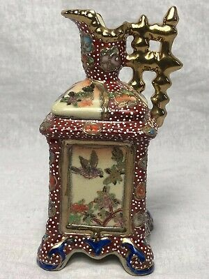 Stunning Collectors Oriental Gold Leaf Overlaid Vase Pottery Signed