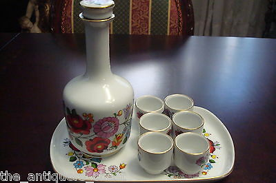 Kalocsa Hungary decanter, tray and 6 cups set, handpainted[4decant]