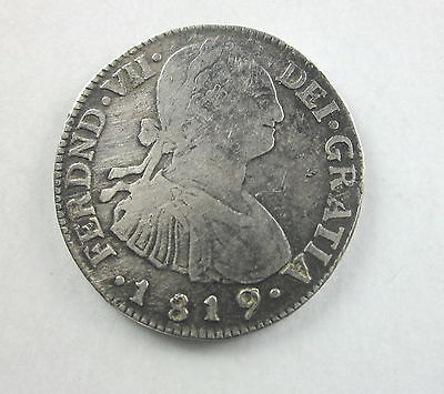 Colombia 2 Reales, 1819, Crowned arms between columns,Circulated, Uncertified
