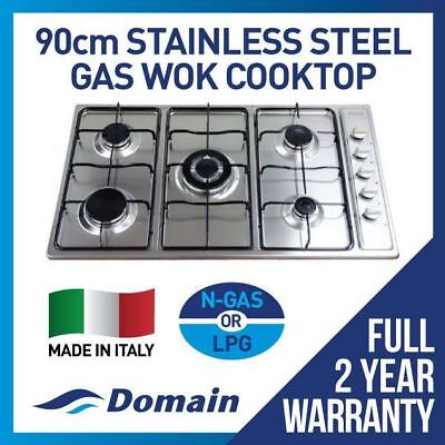 Domain 90cm Powerful S/S 5 Burner Gas Cooktop with Flat Trivets & Wok - 900mm