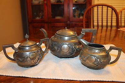 Antique Chinese Silver Tea Set. Tea Pot, Creamer, Sugar. 19Th Century. 1041 Grm