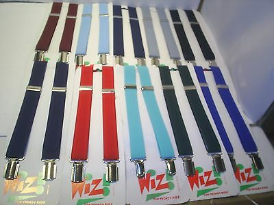 Wiz Trouser Braces Boys Or Girls School Parties Weddings Uniforms  Plain Colours