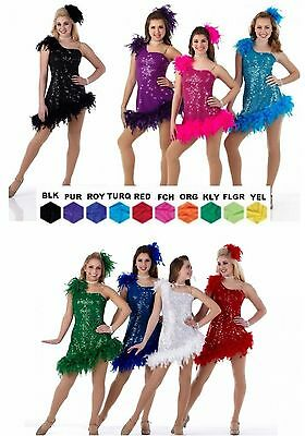 EXPRESS YOURSELF Sequin/Feather Flapper Dress Tap Christmas Dance Costume