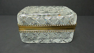 Vintage Heavy Cut Crystal Brass Mounted Jewelry Casket / Dresser Box