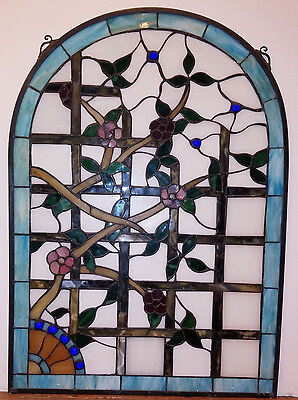Arched Stained Glass Window  - Flowers on Trellis