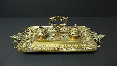 FABULOUS ANTIQUE BRASS DOUBLE INKWELL / INKSTAND with GRIFFIN DECORATION