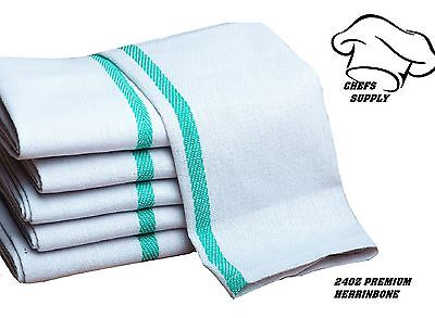 24 100% Cotton Herringbone Green Stripe Dish Towels Lint Free Barber Chefs