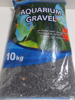 Fish tank aquarium terrarium natural gravel pebbles  BLACK GLOSS 10kg AA324