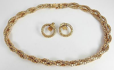 12k gf Gold Serpentine Mesh Necklace Earrings Set Art Deco/Nouveau SO Bigney!!