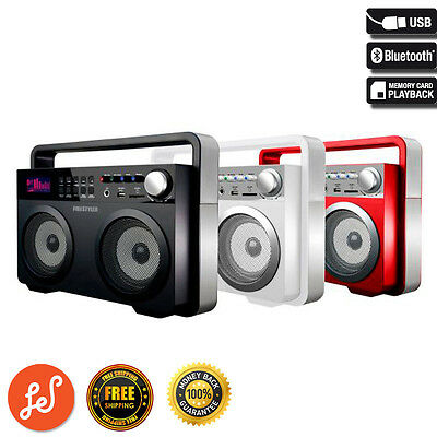 High Power Speaker Ghetto Blaster Boombox with Bluetooth USB FM AUX White