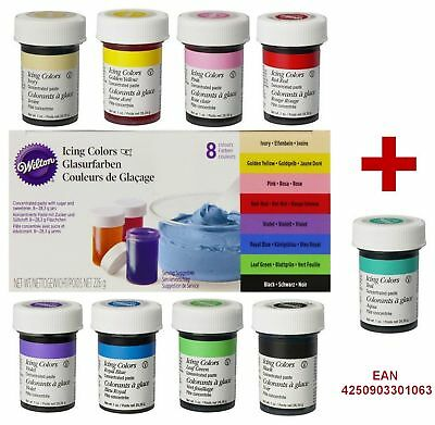 Wilton Icing Colors Lebensmittelfarbe Set 8 + 1 Gelfarben Türkis Teal