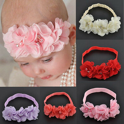 Newborn Baby Girl Chiffon Flower Headband Soft Elastic Hairband Hair Accessories