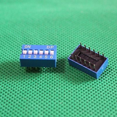 5pc 6 Way DIP Switch 6 Position 6 pin Miniature/Mini/Micro/Small PCB Mountable