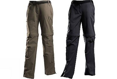 REGATTA LADIES XERT ZIP OFF WALKING TROUSERS DARK GREY or KHAKI TRAVEL CAMINO