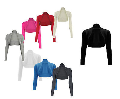 JUSTYOUROUTFIT Ladies Plain Bolero Viscose Crop Stretchy Top Shrugs Size8-12
