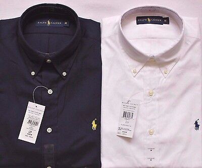 Mens Polo Ralph Lauren Custom Fit Shirt Luxe Poplin Cotton Navy or White RRP £85