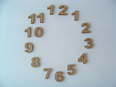 Set of 30mm (3cm) Wooden MDF Clock Face Numbers blank craft shapes