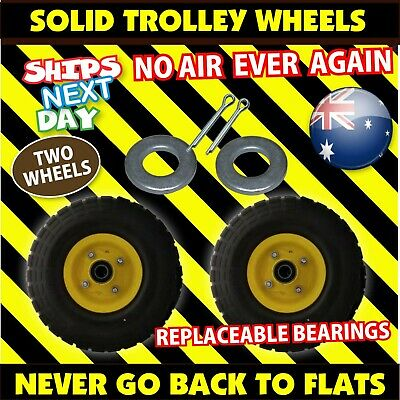 2 x HAND TROLLEY WHEELS SOLID NYLON RUBBER 10 inch 16 mm NEW (4.10/3.50-4) Tyre