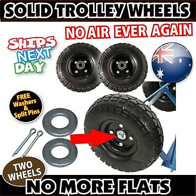 "SOLID TROLLEY WHEEL, GET RID OF PNEUMATIC TYRES. EXPRESS ""PAIR"" 4.10/3.50-4 16mm"