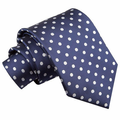 New Dqt High Quality Polka Dot Men's Tie - Navy Blue
