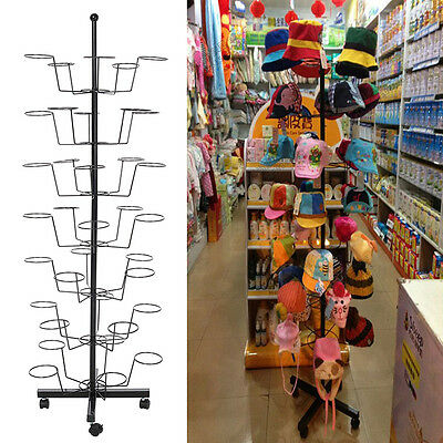 Retail 35 Hat Rack Cap Display Fixture Rotating Spinner Store Floor Stand Black