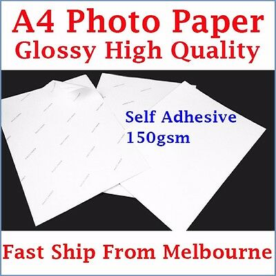 10 Sheets A4 Size 150gsm Glossy Self Adhesive Photo Paper Inkjet Printer