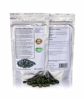 Spirulina tablets 500 x 400mg•100% GMO Free•detox•diet•weight loss•cleanse•