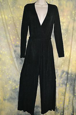 vtg 80s ABS EVENING black sexy DEEP V JUMPSUIT glitter sparkle M belt