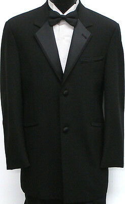 Black Two Button Notch Tuxedo Jacket Wedding Prom Formal *Free Shipping* 44L