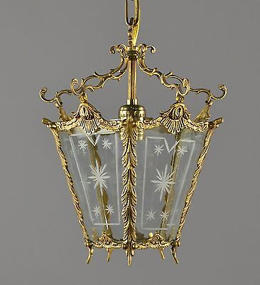 Spanish Brass Lantern c1950 Antique Vintage Gold Gilt Restored Glass Chandelier