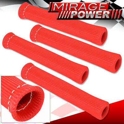 For Gmc 4 Piece Spark Plug Wire Protect Boot Heat Sheild Insulator Unit Red