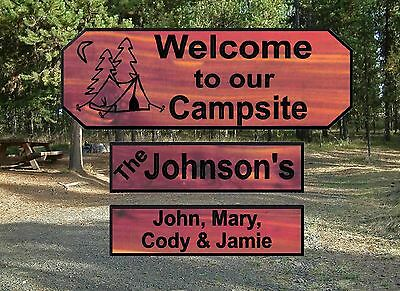 Personalized Custom Carved Camping Cedar Wood Sign Rustic Plaque Home Decor