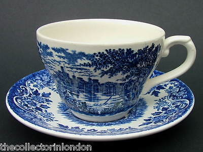Broadhurst Blue & White English Scene - Fishing Scene Tea Cup & Saucer in VGC