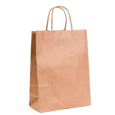 50 x Brown Paper Bags with Twisted Handle - 18cm x 22cm x 8cm (SMALL)
