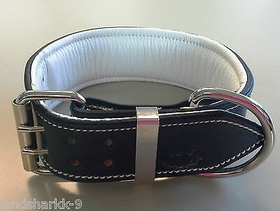 X-Large Navy Leather Dog Collar with Soft White Leather Inner Lining