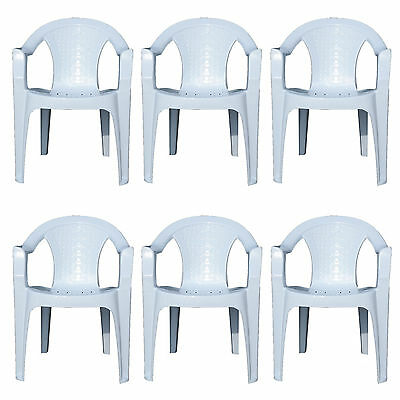 6x Indoor & Outdoor White Plastic Lawn Chairs Garden Patio Armchair Stacking NEW