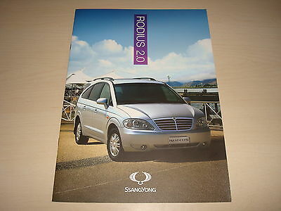 SSANGYONG RODIUS 2.0 S, ES, ES AUTO, EX AUTO UK SALES BROCHURE - c.2011 NEW, OLD