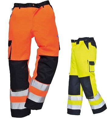 Hi-Vis Trousers Pants Traffic Industrial safety knee pad pockets TX51