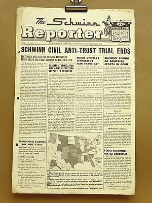Vintage Schwinn Reporter Bicycle Dealer Newsletter March 1963 Town and Country