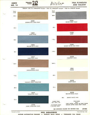 1964 Plymouth And Valiant Paint Chips Sheet (Ppg-Ditzler)